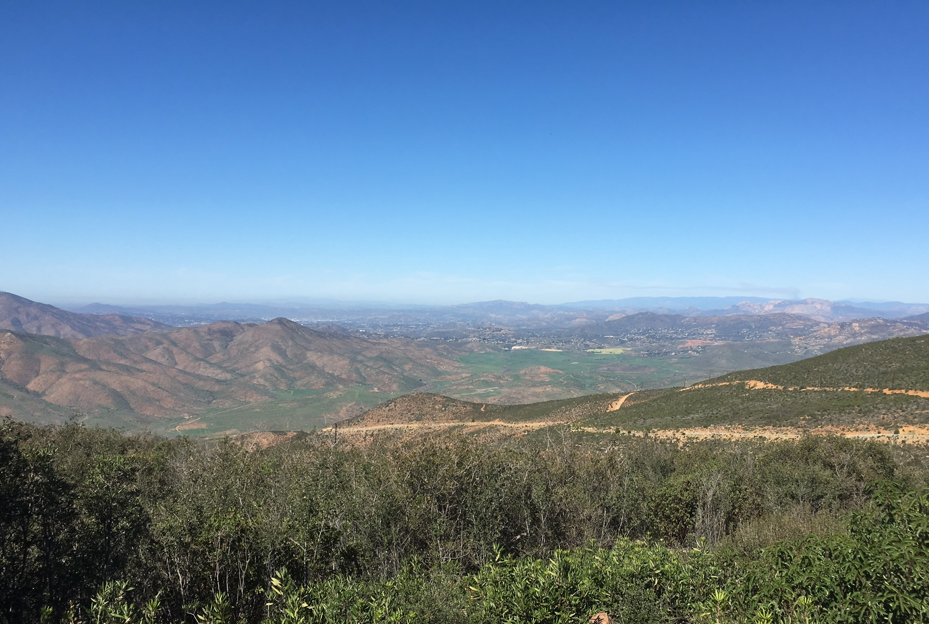 A view looking north from a portion of Otay Mountain. Otay Mountain is visible to much of the county.