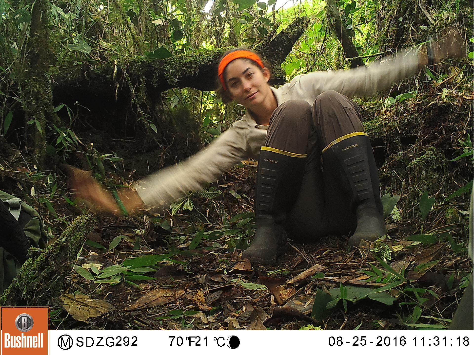 Flynn Vickowski helping test the function and placement of a camera trap.