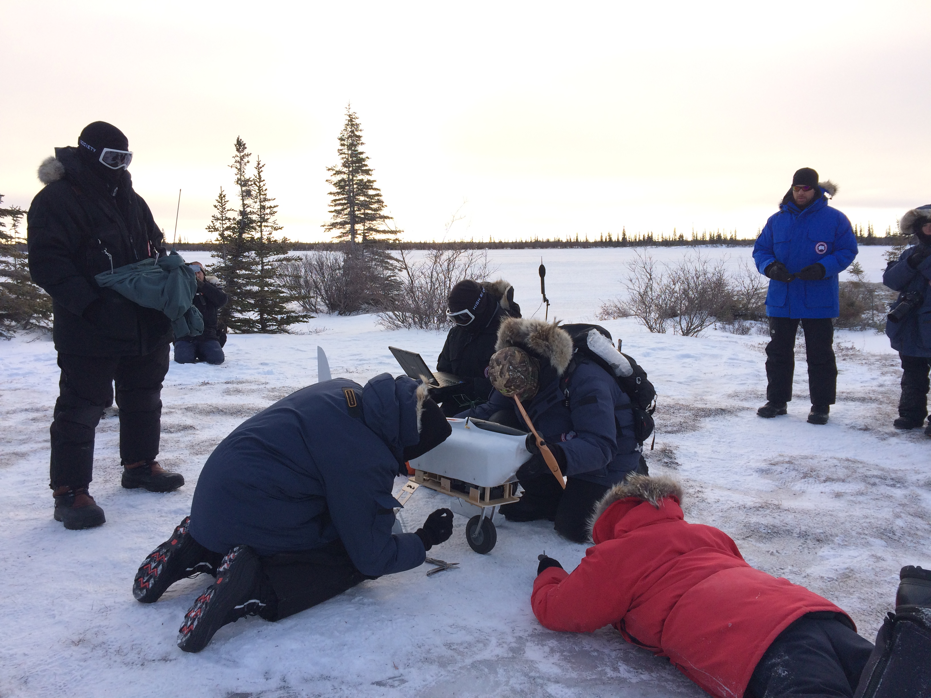 Engineering team getting the fixed-wing UAS ready for its first Arctic test flight.