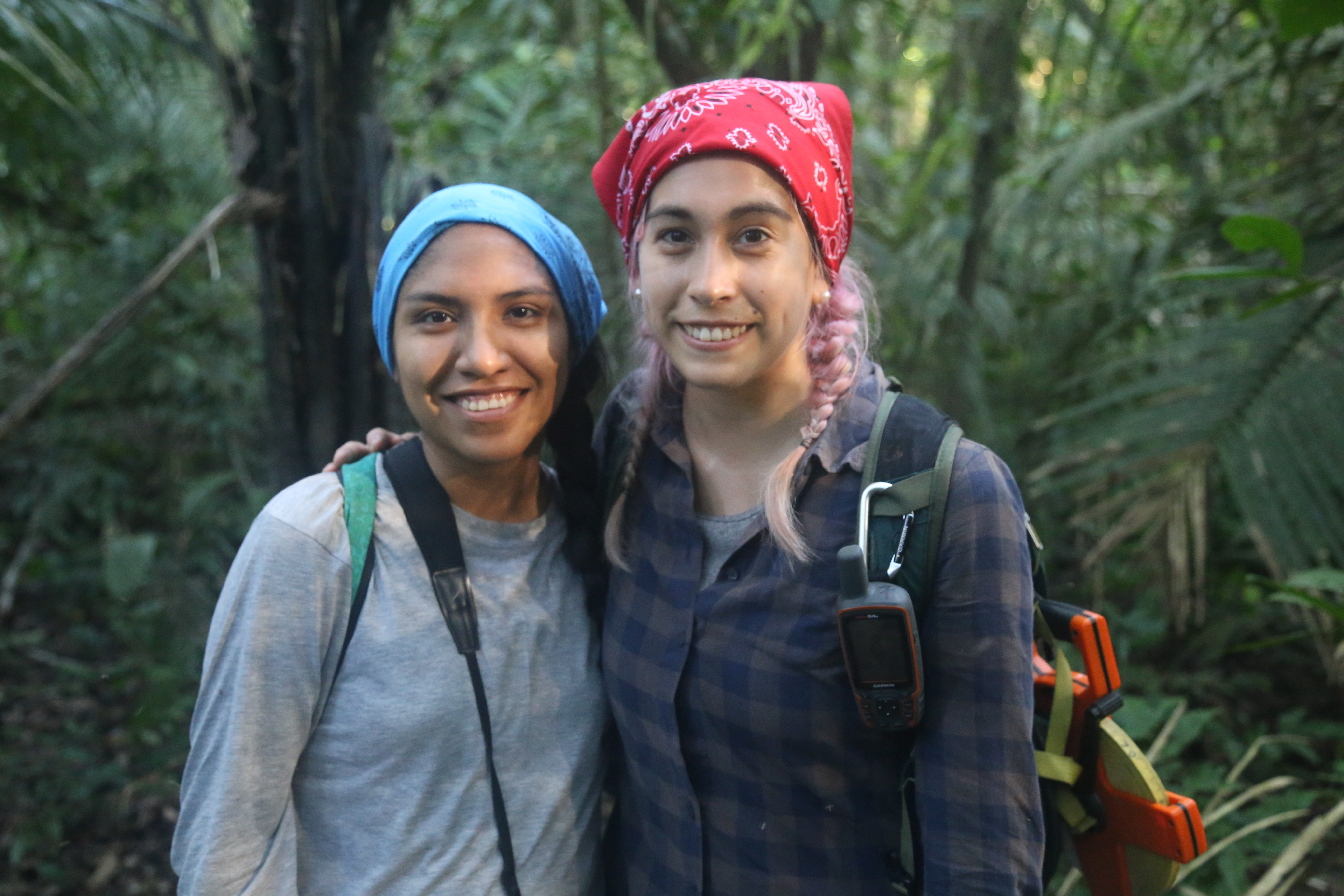 Nicole (right) and Claudia enjoying their time in the forest.