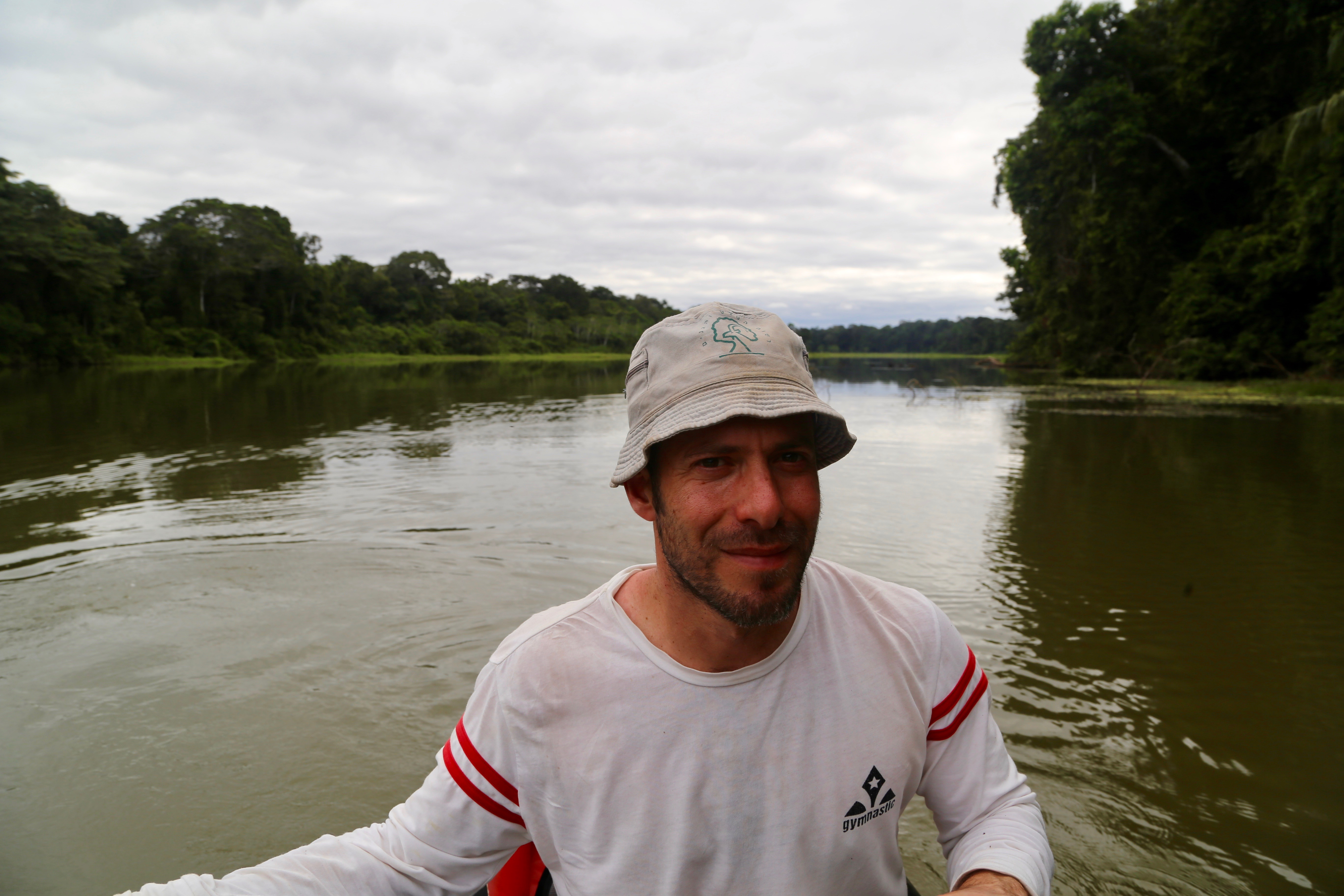 Adi Barocas enjoying his first day on an oxbow lake in Manu National Park in pursuit of otters.