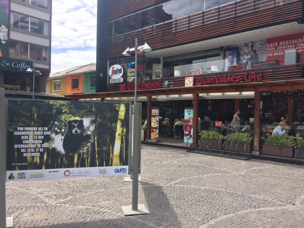 Publicity for the IBA conference and for Andean bears in a busy plaza in Quito.  Photo by the author.