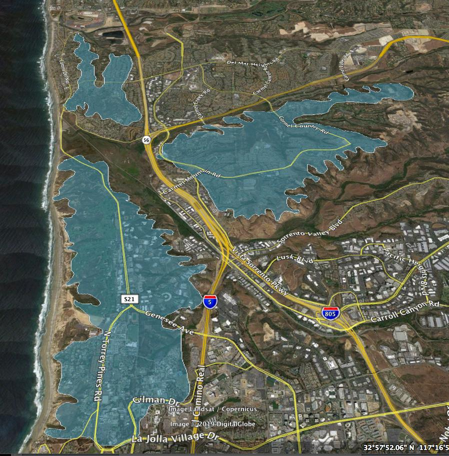 This map shows the three sandstone bluffs that support all of the known individuals of Dudleya brevifolia. River valleys and large freeways separate these bluffs, and they have been almost entirely covered by golf courses, business parks, and homes.