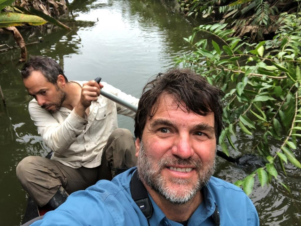 The author indulges in a selfie, while postdoctoral researcher Adi Barocas does the hard work.