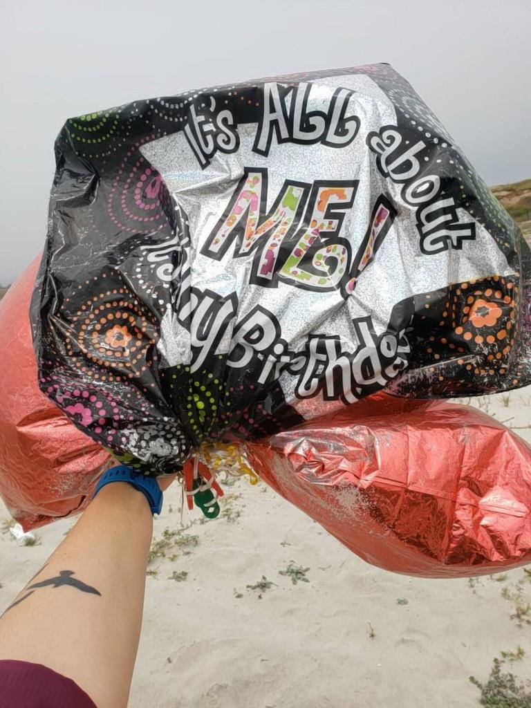 A tangle of balloons that washed up on the beach. Photo courtesy of Marine Corps Base Camp Pendleton. Photo credit: Amie Aguiar