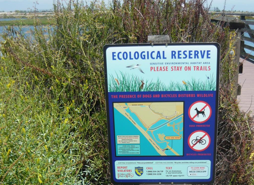 Information for visitors at Bolsa Chica Ecological Reserve in Orange County, an important area for California Least Terns and Western Snowy Plovers. (Photo: Gabriela Ibarguchi)