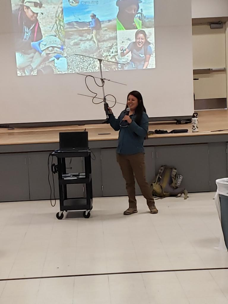Maribel Lopez, AIP Student, gives a talk to a local elementary school.