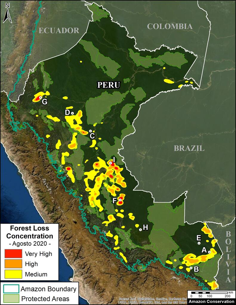 Map showing increases in gold mining activity in the Peruvian Amazon during 2020. (AmazonConservation.org)