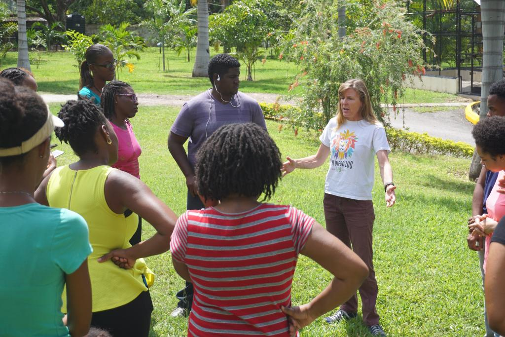 Tandora gives an overview of the Jamaica Iguana Recovery Program to conservation biology students from the University of the West Indies, Kingston.  Photo by Nick Gordon.