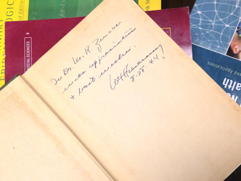 W.H. Feldman signed the book for a colleague in 1944.
