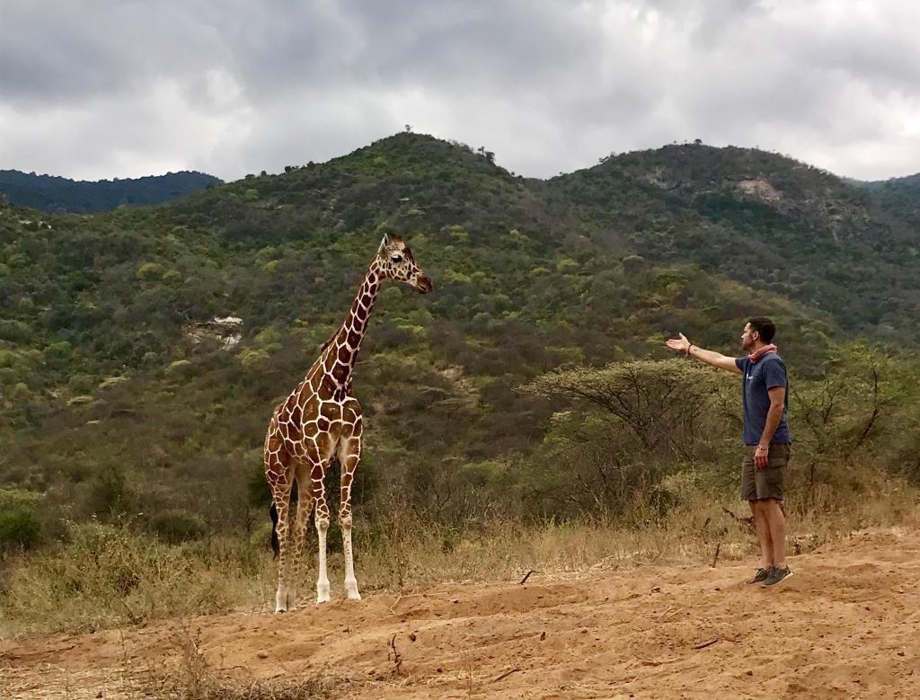 Researcher David O'Connor saying hello to Mara.