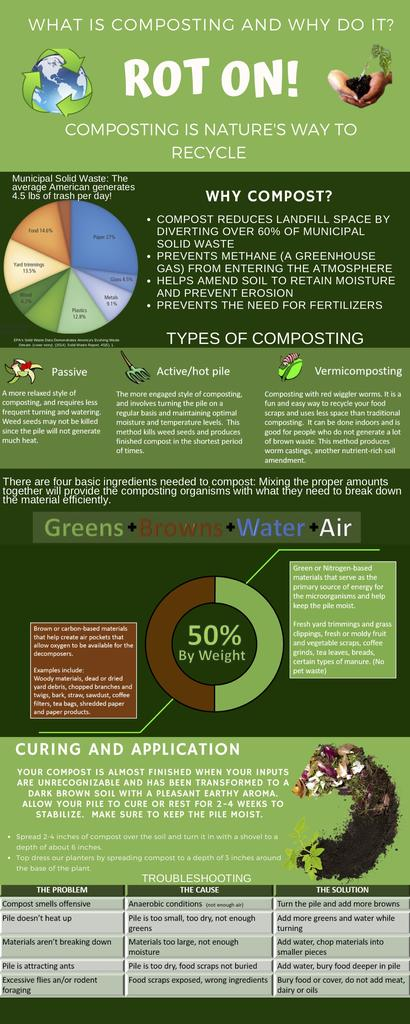 Michelle Stallings, AIP student, created this infographic to get the word out about composting.