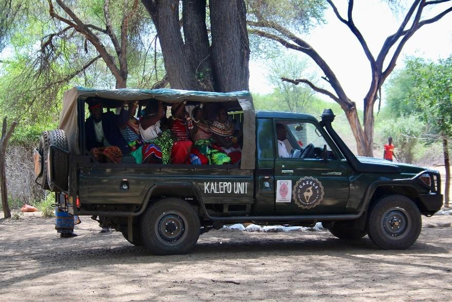 The Kalepo unit vehicle, loaded with community members, which was generously donated by the GAZELS.