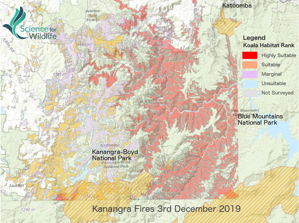 The map released by Science for Wildlife showing the effects on koala habitat by the Kanangra fires. The red and orange areas are classified as highly suitable and suitable for koalas. Picture: Science for Wildlife.