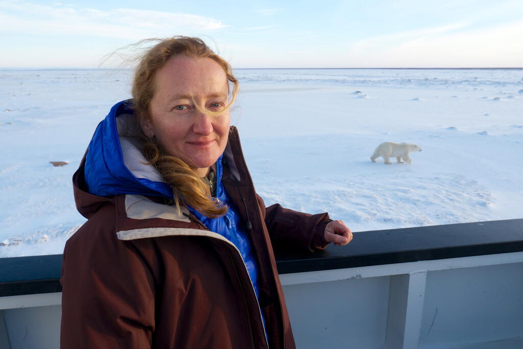Dr. Megan Owen observing polar bears.