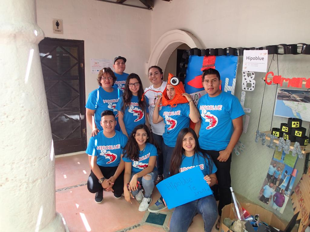 High school students from San Felipe creatively showcase their project involving shrimp fisheries.