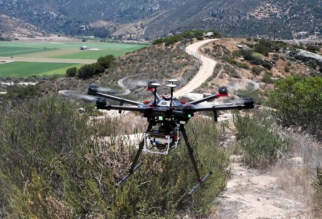 The high-tech conservation drone and its sophisticated suite of sensors takes off to map the Biodiversity Reserve.
