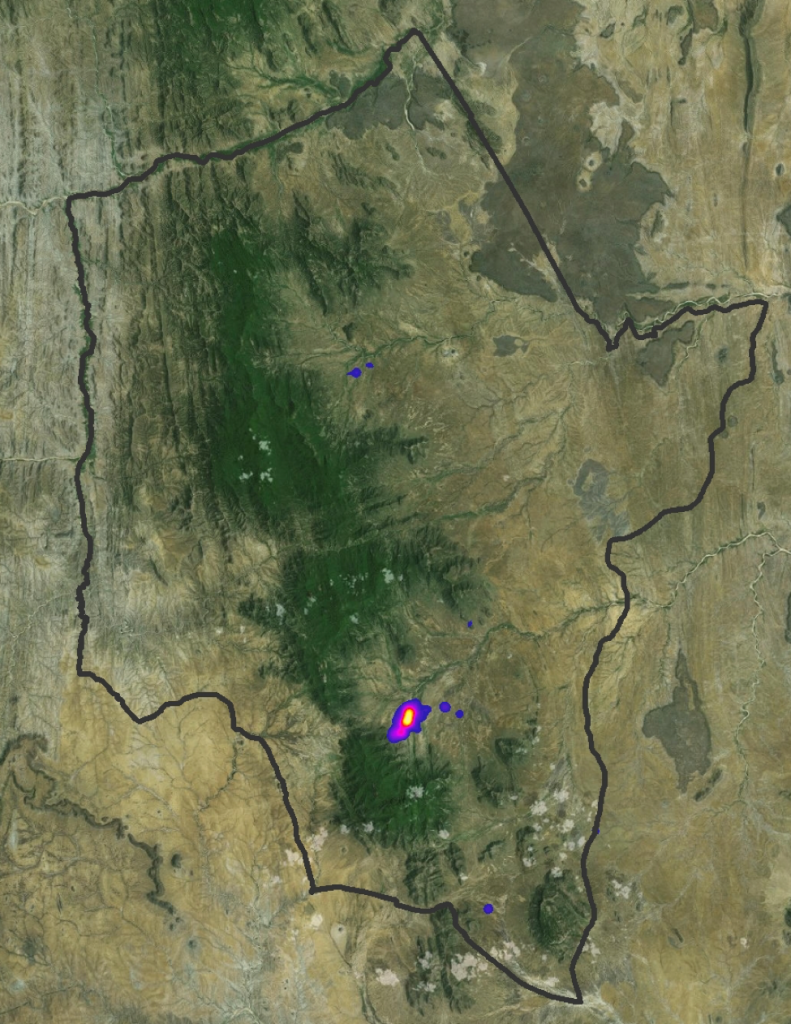 This heat map was created using data collected from the Twiga Walinzi based on observations of giraffe during their photo monitoring patrols within Namunyak Wildlife Conservancy (conservancy boundary shown in grey). Everytime they come across a giraffe its coordinates are recorded. Based on those sightings, this heat map can show they areas where our team is seeing the highest occurrences of giraffe.