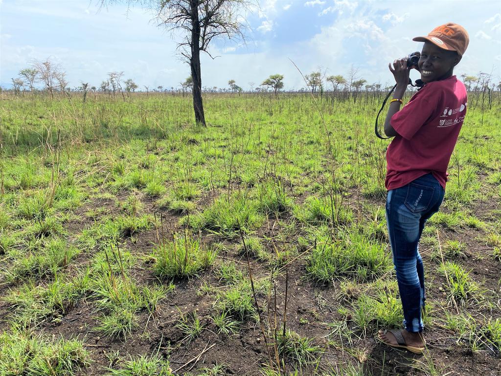Ruth scouting for giraffe in Pian Upe Game Reserve, Uganda.