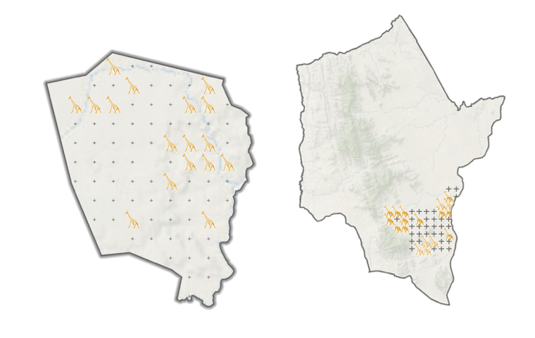 As shown by the giraffe markers, the trail camera locations on Loisaba Conservancy (left) and Namunyak Conservancy (right) where giraffe have been classified as of May 1, 2018.