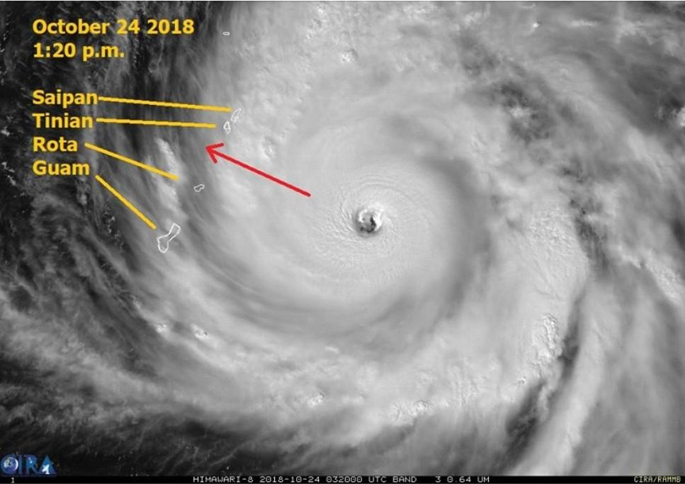 Typhoon Yutu approaching the Marianas