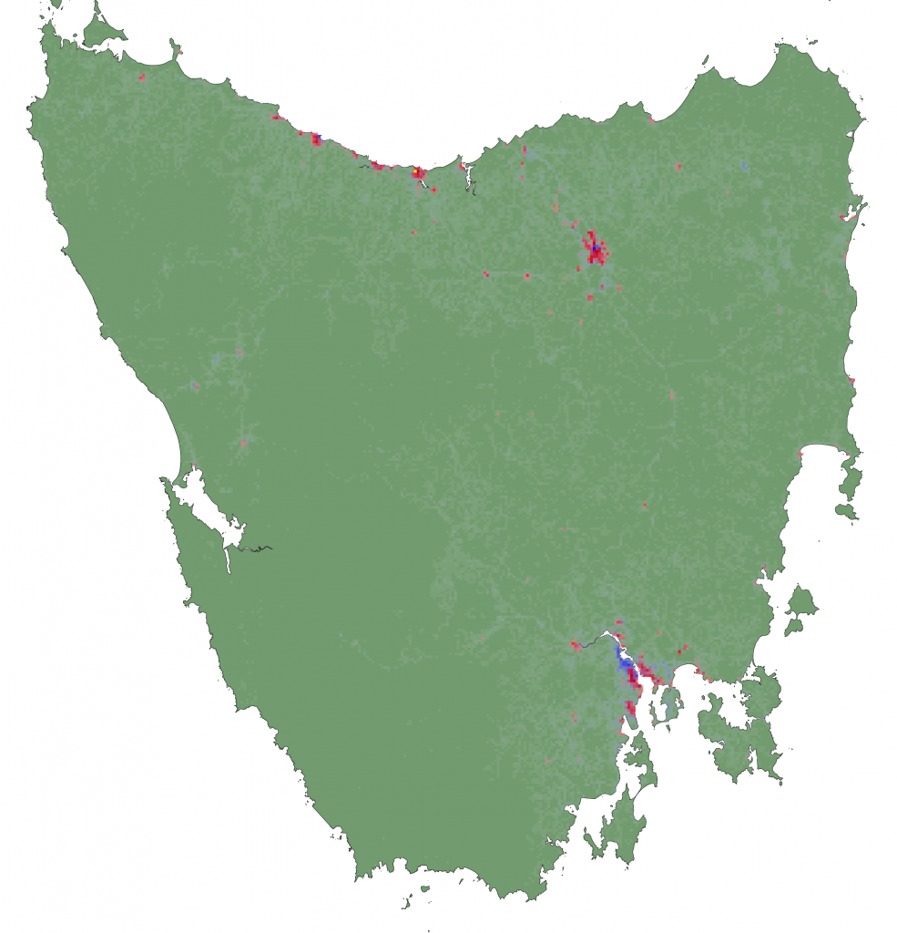 The GIS Map represents Housing density (red), and Road density (blue) across the whole island in 1km by 1km squares.  It is the base map for assembling the model and will influence how devils are expected to move, interact, and cause of death.