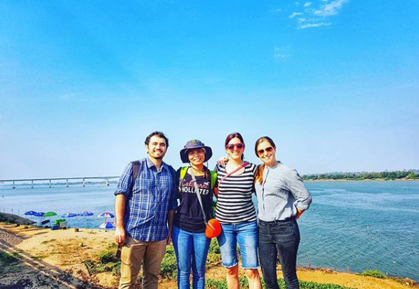 The Community Engagement team on the banks of the Mekong in Stung Treng. From left to right: Diogo Veríssimo, in-country partner Thona Lim, Jenny Glikman, Elizabeth Davis (picture: Elizabeth Davis, SDZG).