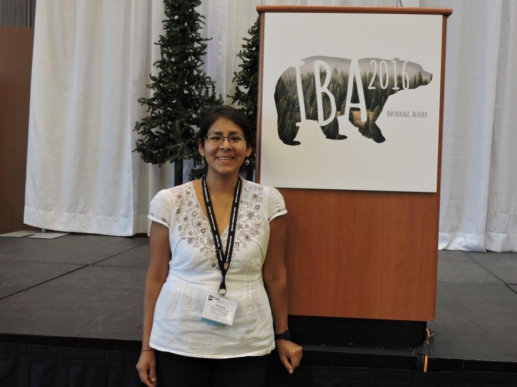 Denisse Mateo attending the 2016 conference of the International Association for Bear Research and Management (IBA), in Anchorage, where she first presented her work to a global audience. Photo is courtesy of Denisse.