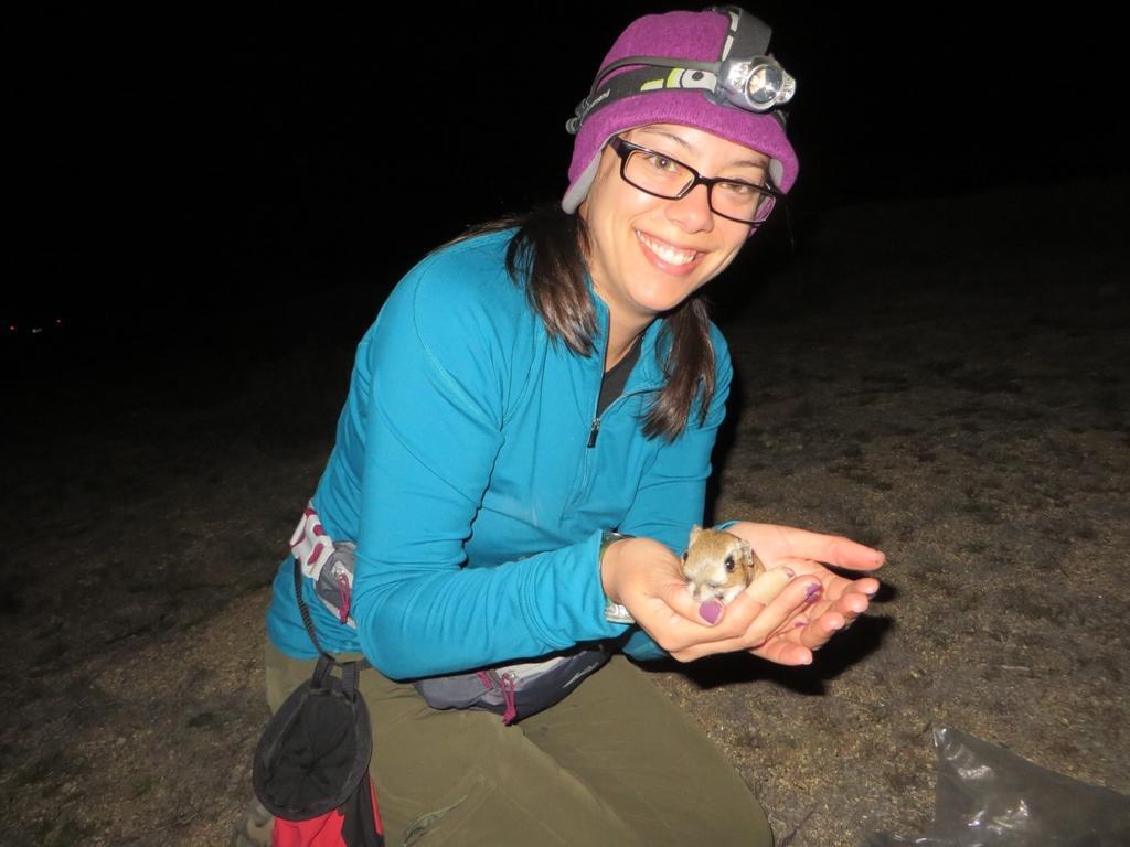 Rachel with a Stephens' kangaroo rat.