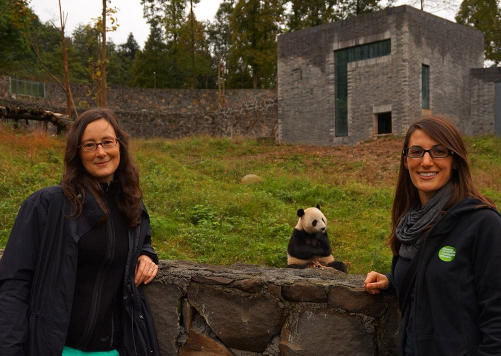 Dr. Megan Jones (left) and the author (right)  had a chance to see how San Diego-born Yun Zi is doing.